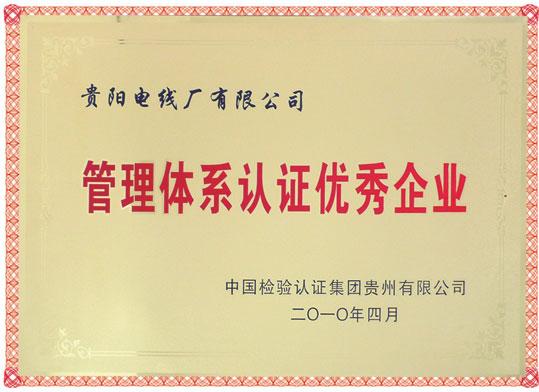 管理体系认证优秀企业